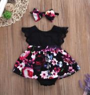 Foreign Trade European Beauty Baby One-Piece Ha Skirt Romper Summer 2021 Short-Sleeved New Style Flying Sleeve Flower Children'S Print