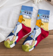 Literary Abstract Color Fun Hit Color All-match Socks For Men And Women