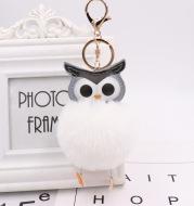 Lovely Owl Hairy Ball Key Ring