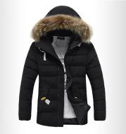 2021 Winter Fur Collar Cotton-Padded Jacket Men's Korean Style Slim Mid-Length Men's Student Padded Jacket And Velvet Thick Hooded Jacket
