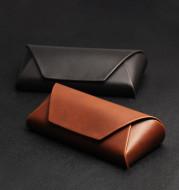 Handmade Japanese Crazy Horse Leather Brown PU Leather Plus Retro Art Anti-compression Myopia Sunglasses Sunglasses Case