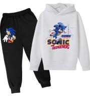 2021 Children's Hedgehog Sonic Baby Pantsuit Kids Pullover Set Boys Girls Casual Cotton Sweatshirt Clothing O-Neck Cute Hoodie