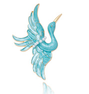 Blue Crane Brooch Enamel Drop Oil Pearl Brooch
