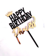Crown Happy Birthday King Queen Princess Prince Acrylic Cake Insert