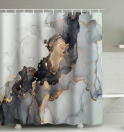 Curtain-Sets Marble Fabric-Shower Abstract Bathroom Modern Black Luxury And Gold Art