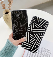 Abstract Black Line Character Apple 12Pro, Max Mobile Phone Case Suitable For Iphone7, 8Plus, Xr Soft Case