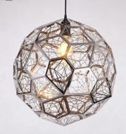 Modern Minimalist Stainless Steel Polyhedron Diamond Ball Chandelier Bar Counter Restaurant Bar Creative Geometric Metal Mesh Light