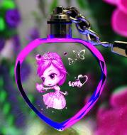 K9 Crystal Keychain LED Flashing Custom Carve Family Photo Frame