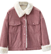 Corduroy Cotton-Padded Jacket Female Student Fall   Winter Outfit