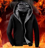 Winter Plus Velvet Sweater Men's Cardigan Hooded Korean Version Vf the Zipper Warm Plus Size Hoodie Casual Men's Jacket Thickening Tide