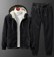 Men's Silver Fox Velvet Hooded Sweater Lamb Velvet Pants Casual