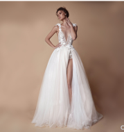 Angel Wedding Dress, Diamond Lace Collar, High Slit Bridal Tail, Open Back Light Wedding Dress