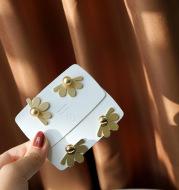 Silver Needle Vintage Petal Metal Flower Stud Earrings