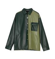Retro Hit Color Leather Jacket Men