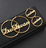 Stainless Steel Custom Name Hoop Earrings Personalized Letter Circle Earring for Women