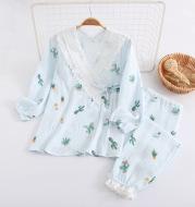 Kimono Cotton Gauze Maternal Postpartum Breastfeeding Confinement Clothing Home Pajamas Set