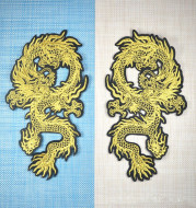 A Pair Of Golden Auspicious Dragon Embroidery Clothing Accessories Patch Coat Patch Embroidery Handmade DIY