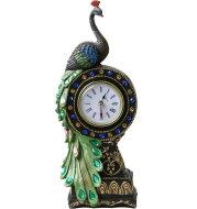 Peacock Clock European Style Creative Desk Clock Antique Seat Clock Fashion Home Clock Decoration Painted Handicraft Ornaments
