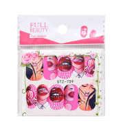 Nail Art Water Transfer Sticker Set Cool 9 Styles American Art Flower Sexy Lips
