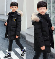 Children's Hooded Cotton Coat With Fur Collar And Cotton Quilted Jacket