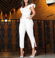 Summer 2020 Foreign Trade Hot Style Women's Jumpsuit With Belt Layered Frilly Skirt Leg High Waist Slim Cropped Trousers