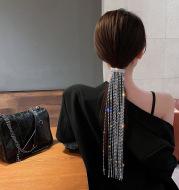 Shine Full Rhinestone Hairpins for Women Bijoux Long Tassel Crystal Hair Accessories Wedding Banquet Jewelry