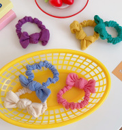 Candy-Colored Bow Hair Ring Girl Heart Hair Rope Sweet New Large Intestine Ring Head Rope Simple Forest Hair Accessories