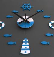 Mediterranean Nordic DIY Clock Lighthouse Rudder Lifebuoy Small Fish Clock DIY Wall Clock