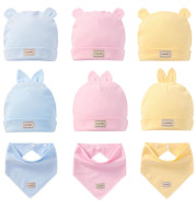 Cute Kids Hat Cap with Bibs Candy Solid Colors Boys Girls Baby Beanies Hats Cotton Born Baby Hat