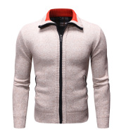 Casual Solid Color Plus Velvet Thick Men's Stand-up Collar Sweater