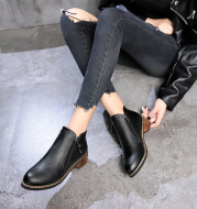 Block-Heel British Style Side Zipper Ankle Boots
