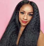 Mid-Section Black Fluffy Long Straight Hair