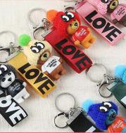 New Product Korean Version Of Bear Ribbon Keychain Cute Teddy Bear Ribbon Love Pendant Student Keychain Pendant