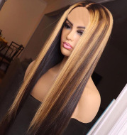Wig Ladies Chemical Fiber Hair Cover Piano Color Highlighting Brown Inter-color Long Straight Hair Gradient