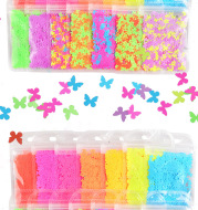 Multicolor Medium Butterfly Nail Sequins In Bone Bag