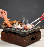 Wooden Seat Korean Style Grill Pan Grill Household Smokeless