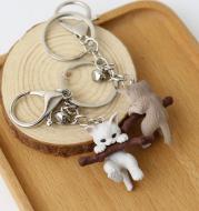 Cute Pet Branch Kitty Bell Buckle Key Chain Q Version Cartoon Farm Cat Keychain