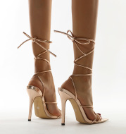 Simple Cross Strap Pointed Super High Heel Sandals