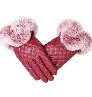 Winter Warm Plus Velvet Windproof And Rainproof Cycling Driving Big Hairy Plaid Korean Cute Touch Screen Gloves