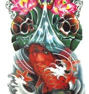Environmental protection waterproof sweat lasting tattoo stickers personality fashion trend skull dragon carp owl full arm tattoo