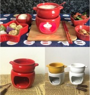 Premium porcelain fondue set for cheese and chocolate
