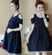 Polka Dot Loose Short Sleeve Off-The-Shoulder Mid-Length Maternity Dress