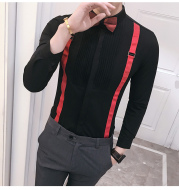 Autumn New Men'S Pull Strap Long-Sleeved Shirts Men'S Formal Shirts Groomsmen Clothes Bar Overalls