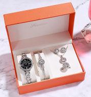 Women Quartz Watch Set Bracelet Necklace Ring Earrings Gift