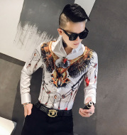 Men'S Tough Guy Style Slim Printed Long-Sleeved Shirt Fashion Korean Casual Printed Cardigan Men