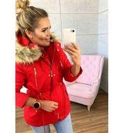 2018 Explosive New Wish Hooded Fur Collar Elastic Belt Pocket Zipper Jacket