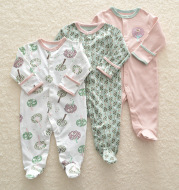 Baby Cotton-Wrapped Foot One-Piece Romper,Long-Sleeved Romper, Foot-Wrapped Climbing Suit