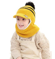 Children's Hat Knitted With Plush And Thick Warm Ear Protector