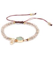 New Cross-Border Jewelry 4Mm Faceted Pink Stone Bracelet Hand-Woven Stone Bracelet