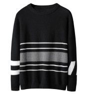 Ins Hong Kong Style Dropped Shoulder Loose Striped Sweater